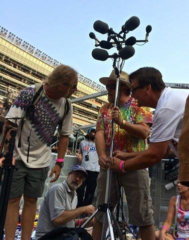 Clay (right) and friends getting ready to tape one of the Fare Thee Well concerts, July 2015.