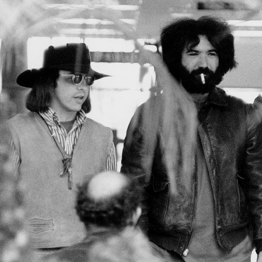 A rare photo of Owsley, backstage with Grateful Dead guitarist Jerry Garcia. (Photo: Rosie McGee, via Reuters)